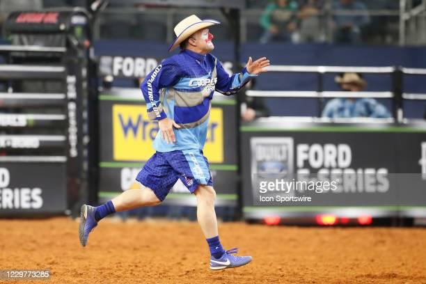 Flint Rasmussen runs during the PBR World Finals, on November 15th at the AT&T Stadium, Arlington, TX.