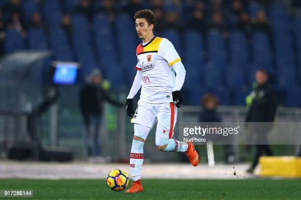 Flip Djuricic of Benevento during the serie A match between AS Roma and Benevento Calcio at Stadio Olimpico on February 11 2018 in Rome Italy