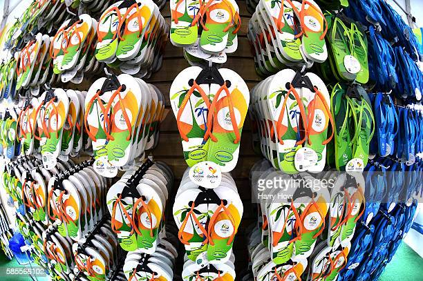 Flip flops hang at the Rio 2016 Megastore on Copacabana Beach on August 3 2016 in Rio de Janeiro Brazil