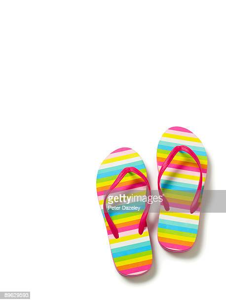 Flip flops on white background.