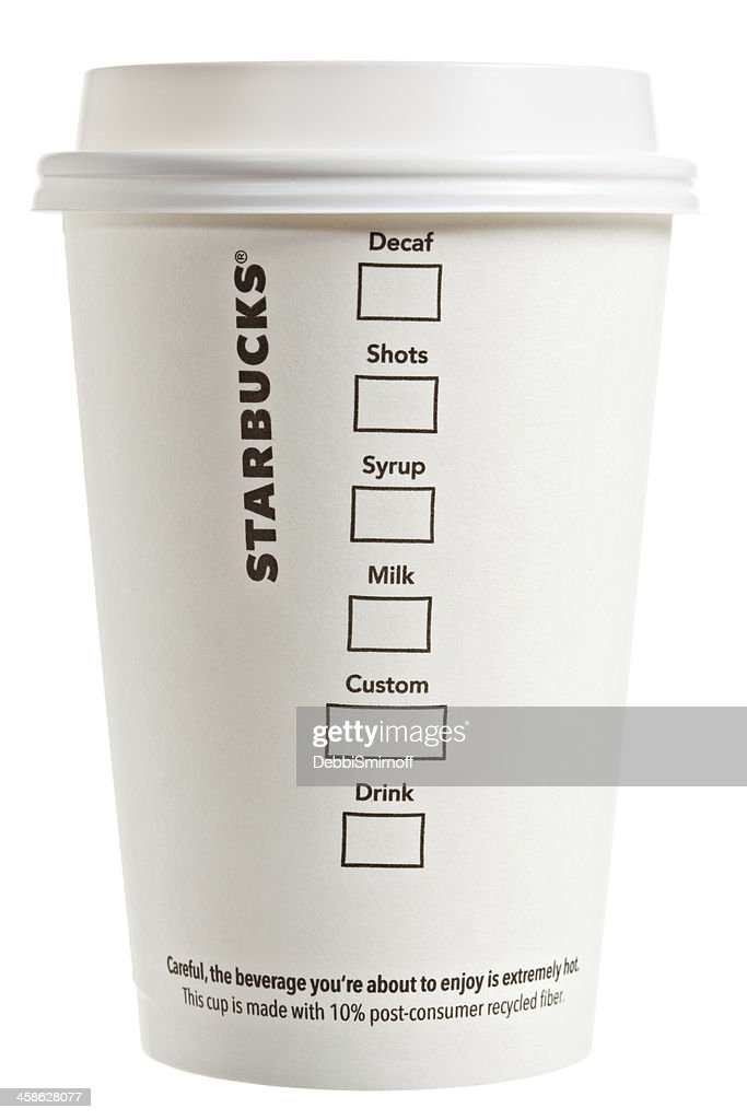 Flip Side Of A Starbucks Paper Coffee Cup : Stock Photo