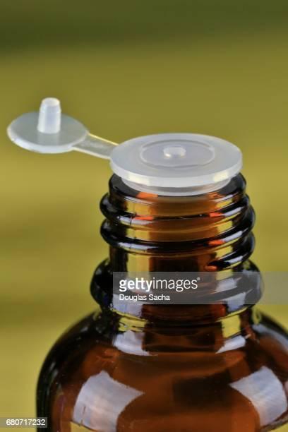 Flip up cap on an Essential Oil bottle