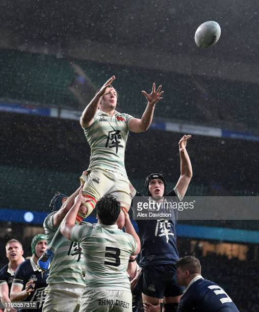 Flip Van Der Merwe of Cambridge beats Jasper Dix of Oxford in the lineout during the Oxford University vs Cambridge University Men's Varsity match at...