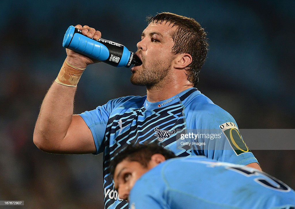 Flip van der Merwe of the Bulls takes a drink during the Super Rugby match between Vodacom Bulls and Waratahs at Loftus Versveld on April 27, 2013 in Pretoria, South Africa.