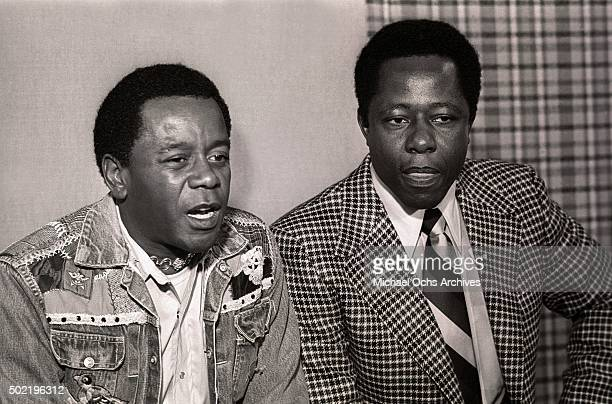 Flip Wilson and Hank Aaron talk during a press conference before filming NBCTV's 'The Flip Wilson Show' on October 15 1973 in Hollywood California