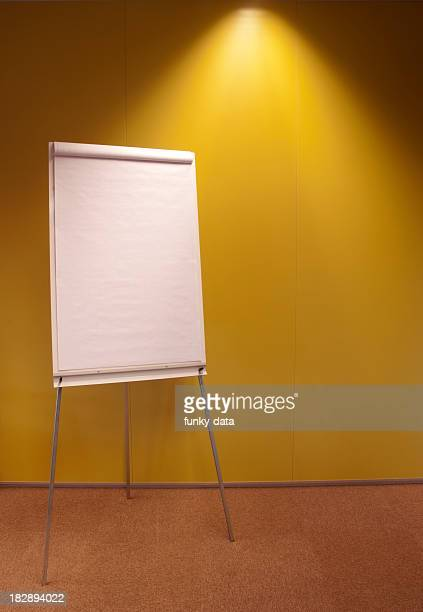 Flipchart in front of yellow wall