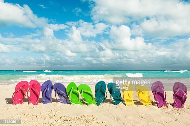 Tongs de plage pour les vacances de printemps et les vacances d'été