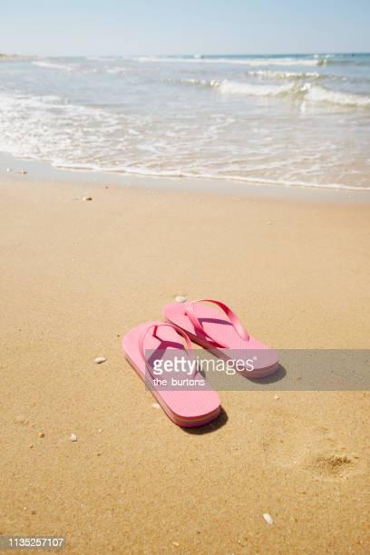 flip-flops on the beach - sandaal stockfoto's en -beelden