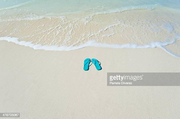 flipflops on the shore - sandaal stockfoto's en -beelden