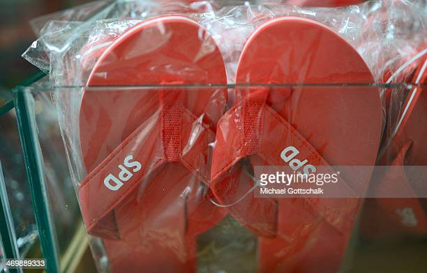 FlipFlops with the spd logo are offered in the party´s merchandising shop on February 17 2014 in Berlin Germany The SPD board discusses the affair...