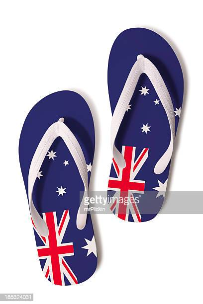 flips flops and australian flag - australian flag stock pictures, royalty-free photos & images
