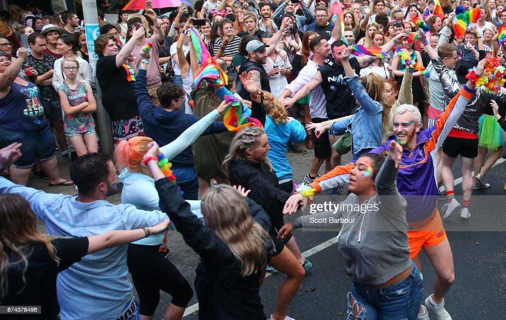 Australians Celebrate YES Vote Win In Marriage Law Postal Survey : News Photo