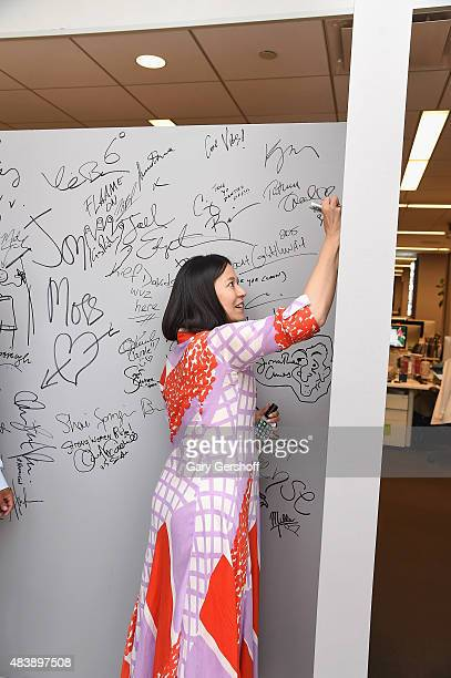 "Flmmaker E. Chai Vasarhelyi signs her signature at AOL Build Presents: ""MERU""at AOL Studios In New York on August 13, 2015 in New York City."