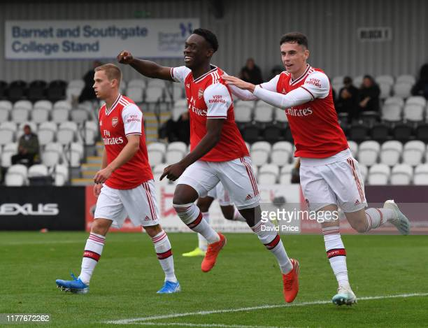 Flo Balogun celebrates scoring Arsenal's 2nd goal with Jordan McEneff during the PL2 match between Arsenal U23 and Liverpool U23 at Meadow Park on...