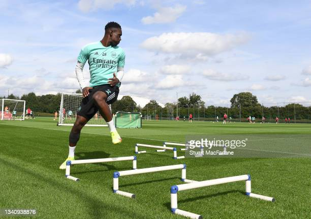 Flo Balogun of Arsenal during a training session at London Colney on September 17, 2021 in St Albans, England.