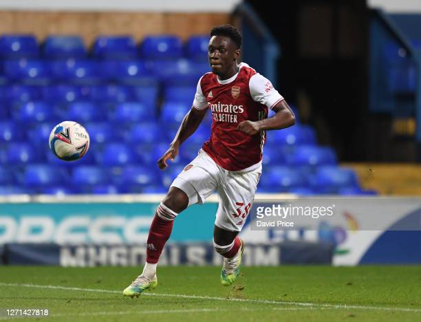 Flo Balogun of Arsenal during the Leasingcom Cup match between Ipswich Town and Arsenal U21 at Portman Road on September 08 2020 in Ipswich England