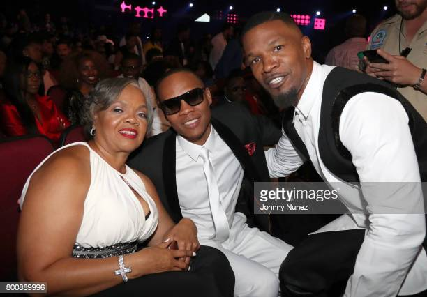 Flo DeVoe Ronnie DeVoe and Jamie Foxx in the audience at the 2017 BET Awards at Microsoft Theater on June 25 2017 in Los Angeles California