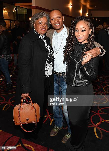 Flo Devoe Ronnie Devoe and Shamari Fears Devoe attend BET's Atlanta screening of The New Edition Story at AMC Parkway Pointe on January 5 2017 in...