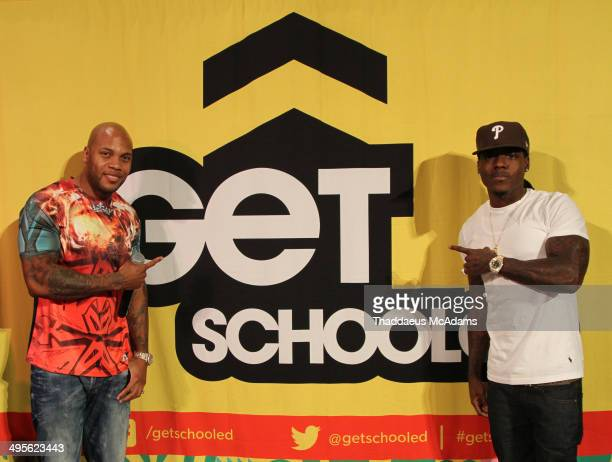 Flo Rida and Ace Hood attend Miami Edison Middle School Wins Get Schooled Diplomas Now Attendance Challenge on June 4 2014 in Miami Florida