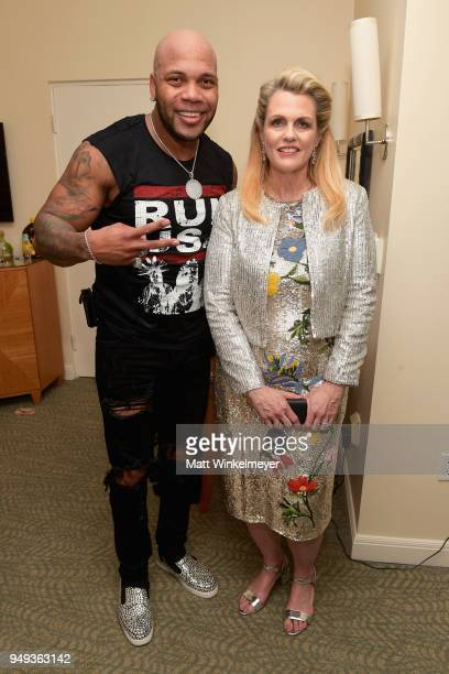 Flo Rida and Founder of Race To Erase MS Nancy Davis attend the 25th Annual Race To Erase MS Gala at The Beverly Hilton Hotel on April 20 2018 in...