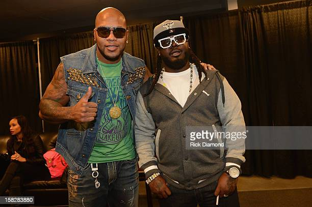 Flo Rida and Rapper T-Pain pose backstage at Power 96.1's Jingle Ball 2012 at the Philips Arena on December 12, 2012 in Atlanta.