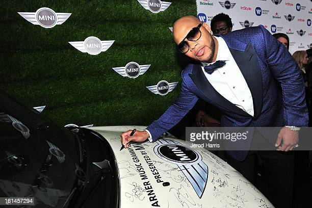 Flo Rida arrives at the Warner Music Group GRAMMY Celebration Presented by Mini at Chateau Marmont on February 10 2013 in Los Angeles California