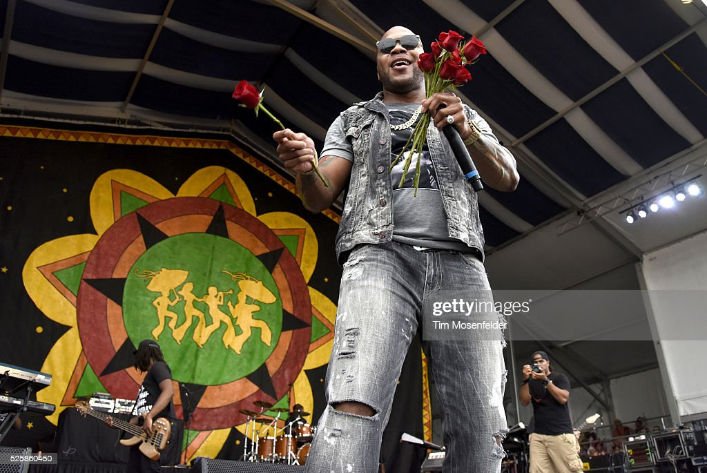 Flo Rida performs during the 2016 New Orleans Jazz & Heritage Festival at Fair Grounds Race Course on April 28, 2016 in New Orleans, Louisiana.