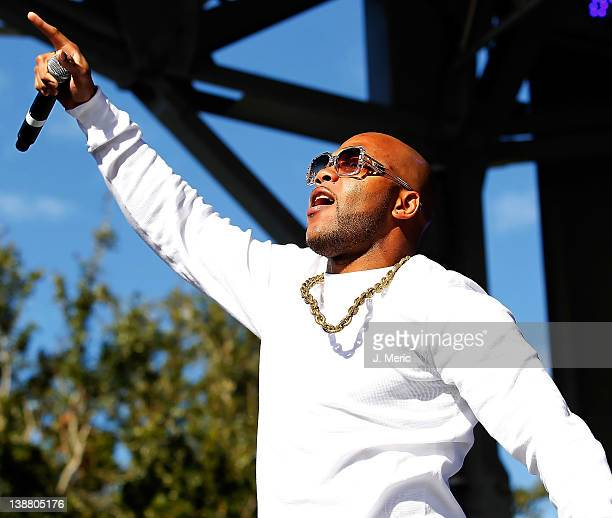 Flo Rida performs just after the Rock n Roll Half Marathon on February 12 2012 in St Petersburg Florida