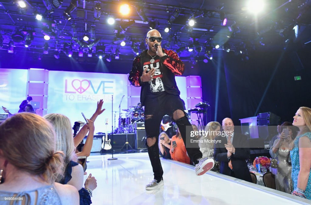 Flo Rida performs onstage at the 25th Annual Race To Erase MS Gala at The Beverly Hilton Hotel on April 20, 2018 in Beverly Hills, California.