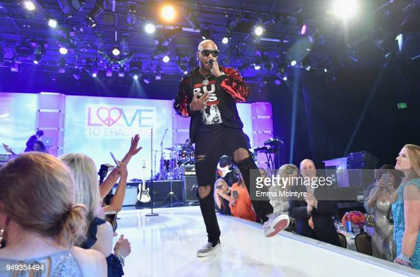 Flo Rida performs onstage at the 25th Annual Race To Erase MS Gala at The Beverly Hilton Hotel on April 20 2018 in Beverly Hills California