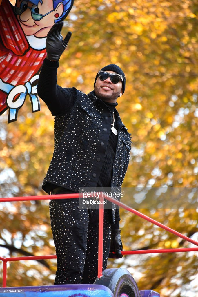 Flo Rida rides in the 91st Annual Macy's Thanksgiving Day Parade on November 23, 2017 in New York City.