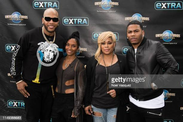 Flo Rida Rozonda 'Chilli' Thomas Tionne 'TBoz' Watkins and Nelly visit Extra at Universal Studios Hollywood on May 15 2019 in Universal City...