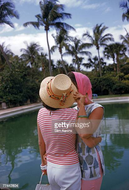 Flo Smith and Lily Pulitzer at a pool party Palm Beach Florida April 1961