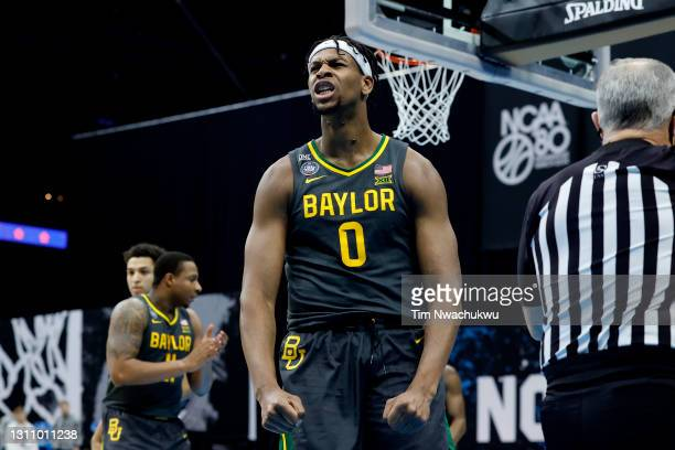Flo Thamba of the Baylor Bears reacts in the National Championship game of the 2021 NCAA Men's Basketball Tournament against the Gonzaga Bulldogs at...