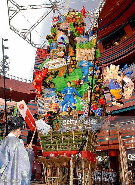 A float called 'Kazariyama' is displayed as the Hakata Gion Yamakasa festival begins at Canal City Hakata on July 1 2015 in Fukuoka Japan The...