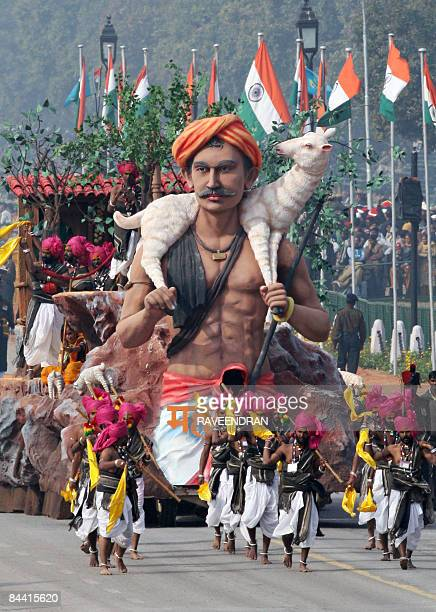 A float carrying a tableau from Maharashtra state rolls past during the final full dress rehearsal for the Indian Republic Day parade in New Delhi on...