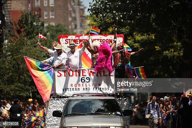 A float commemorates the 40th anniversary of the Stonewall riots which erupted after a police raid on a gay bar the Stonewall Inn on Christopher St...