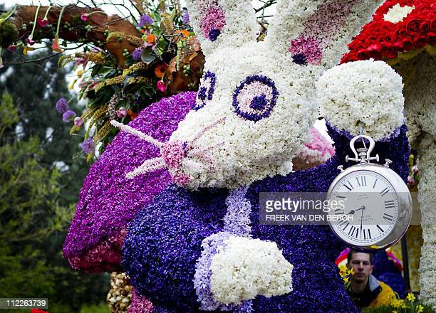 Float depicting a rabbit is pictured during the 64th edition of the flower parade in Noordwijkerhout, on April 16, 2011. The theme of this year's...