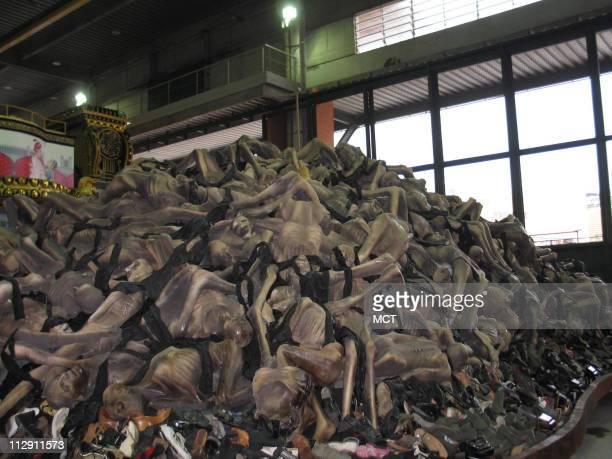 A float designed for this year's Carnaval parade features a mound of corpses in reference to the Holocaust as seen January 28 in Rio de Janeiro...
