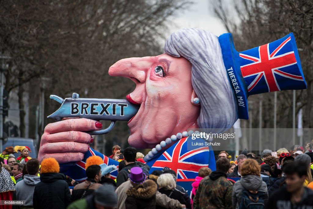 A float featuring British Premier Theresa May drives in the annual Rose Monday parade on February 27, 2017 in Dusseldorf, Germany. Political satire is a traditional cornerstone of the annual parades and the ascension of Trump to the U.S. presidency, the rise of the populist far-right across Europe and the upcoming national elections in Germany provided rich fodder for float designers this year.