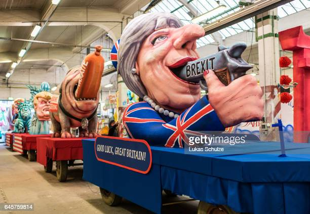 A float featuring British Premier Theresa May prior to the annual Rose Monday parade on February 27 2017 in Dusseldorf Germany Political satire is a...