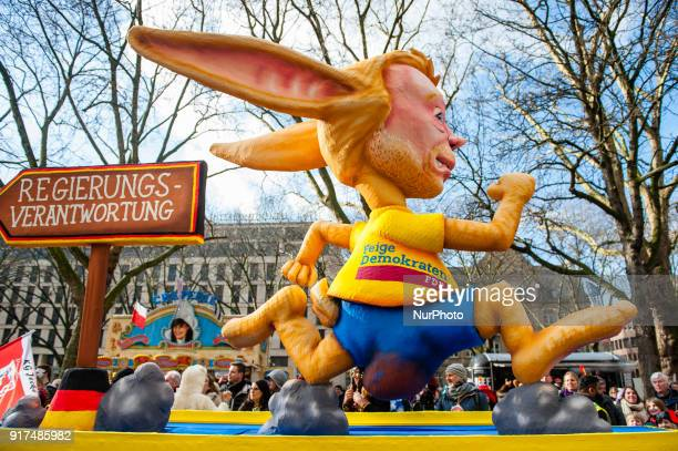 A float featuring Christian Lindner head of the German Free Democratic Party is seen prior to the annual Rose Monday parade on February 12 2018 in...