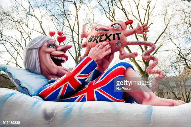 A float featuring Prime Minister Theresa May is seen during the annual Rose Monday parade on February 12 2018 in Dusseldorf Germany Political satire...