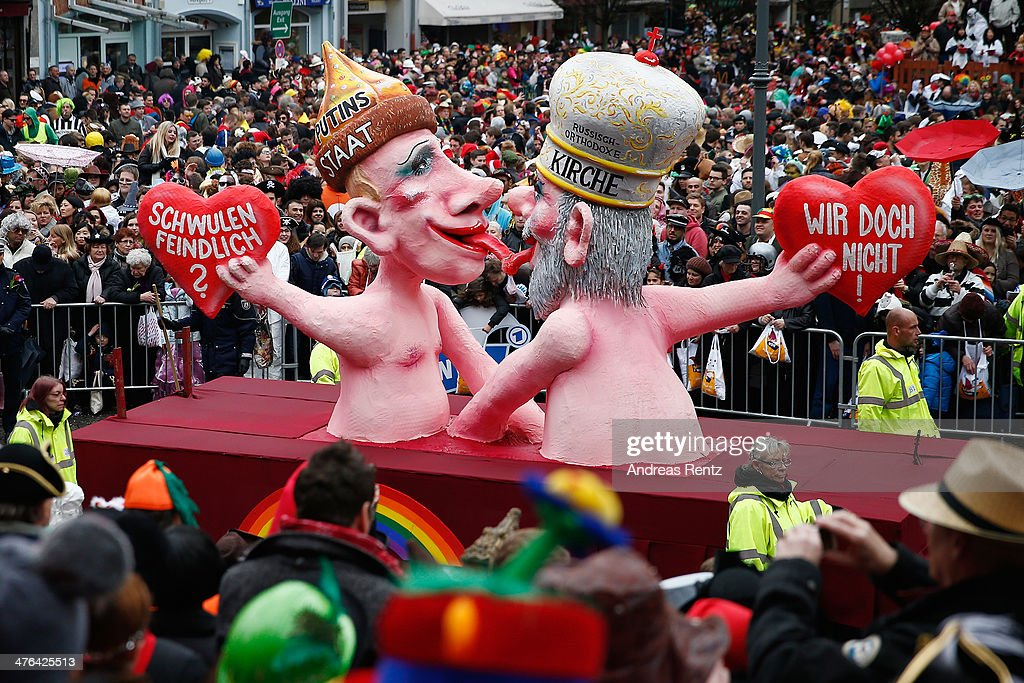 A float featuring Russian President Wladimir Putin and a Orthodox priest makes its way during the traditional Rose Monday parade on March 3, 2014 in Duesseldorf, Germany. Rose Monday is the highpoint of the annual carnival season in the region between Dusseldorf, Cologne and Mainz where the carnival has been an annual tradition since 1823 and celebrates free-spirited merrymaking before the beginning of Lent.