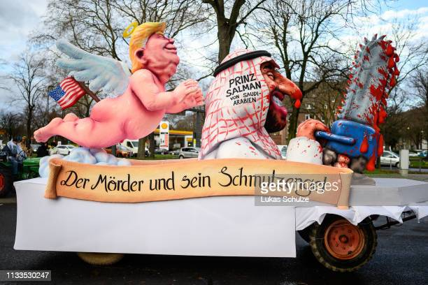 A float featuring US president Donald Trump and Mohammed Bin Salman Bin Abdulaziz AlSaud Crown Prince of Saudi Arabia with the words which translates...