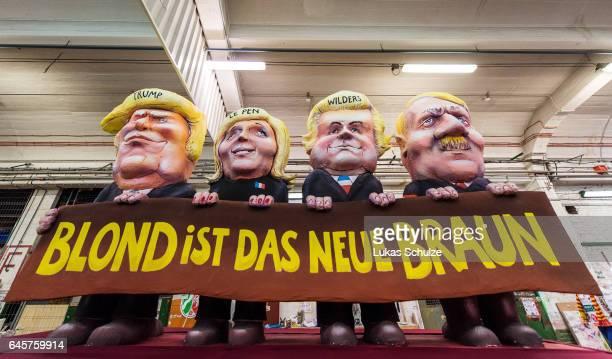 A float featuring US President Donald Trump Marine Le Pen of Front National Geert Wilders of Partij voor de Vrijheid and Adolf Hitler prior to the...