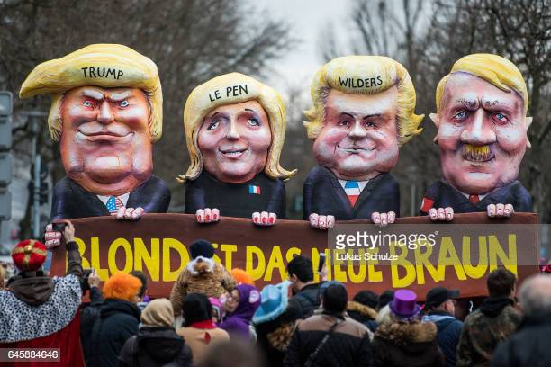 A float featuring US President Donald Trump Marine Le Pen of Front National Geert Wilders of Partij voor de Vrijheid and Adolf Hitler drives in the...