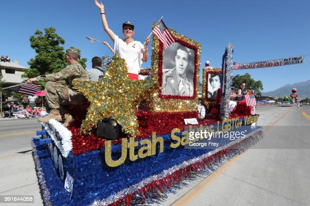 """Float from the group """"Mormon Building Bridges"""" makes it way down University Avenue as part of the Provo Freedom Festival Parade on July 4, 2018 in..."""
