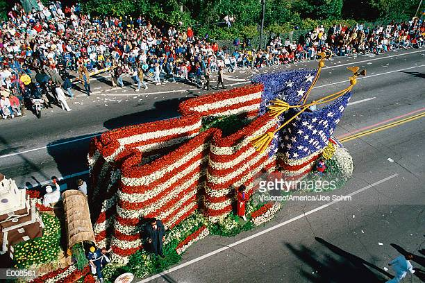 Float in parade of American flag