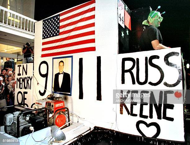 A float in the Key West Fantasy Fest Parade is used as a remembrance to Russ Keene a Key West Florida native who was killed in the 11 September...